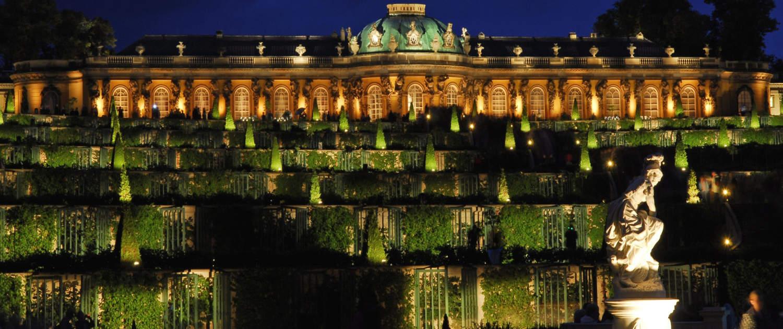 Potsdamer Schlössernacht 2008, Park Sanssouci, Blick über die Terrassen zum Schloss Sanssouci.